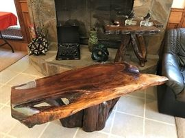 Two Wood Stump Tables