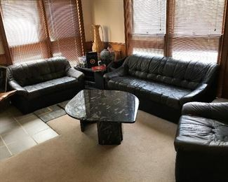 Leather sofa, chair and loveseat.  Marble Coffee Table