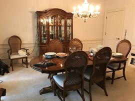 Display Cabinet with light.  Table and 6 chairs.