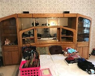 King Size Wall Unit Bedroom Suite with lights drawers, cabinets, electronic plug ins