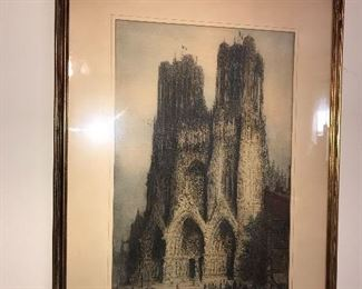 REIMS CATHEDRAL  FRAMED PAINTING