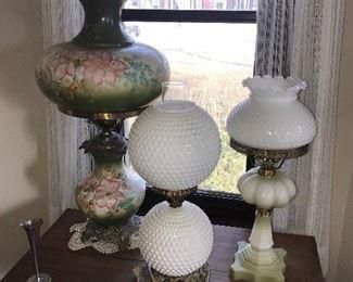 VINTAGE HURRICANE & FENTON LAMPS