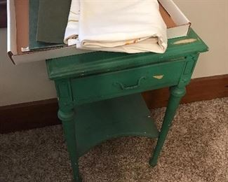 ANTIQUE GREEN SIDE TABLE