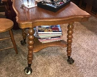 AMERICANA TIGER OAK BALL AND CLAW FEET  SIDE TABLE