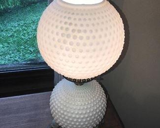 ANTIQUE BALL FENTON HOBNAIL MILK GLASS LAMP