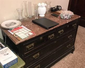 ANTIQUE EASTLAKE BUFFET TABLE WITH MARBLE TOP