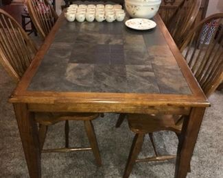 ANTIQUE COUNTRY PRIMITIVE WOOD AND TILE TABLE AND CHAIRS