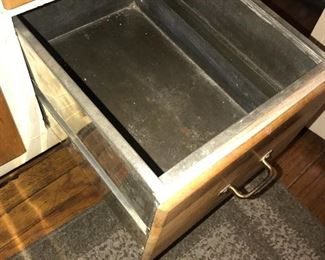 COUNTRY PRIMITIVE METAL AND WOOD BAKERS CABINET