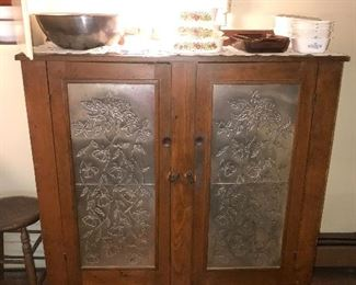 ANTIQUE COUNTRY PRIMITIVE AUTUMN LEAF PUNCH TIN AND WOOD KITCHEN CABINET