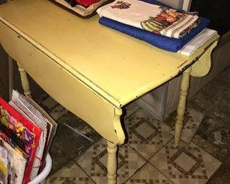 YELLOW DROP LEAF TABLE