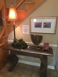 Foyer-Entry-Sofa table-brushed silver with gold accents