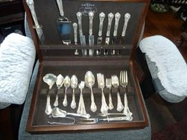 52 PIECE SET OF STERLING SILVER GORHAM CHANTILLY SET, THE WOOD BOX IS ORIGINAL TO THIS SET, A BEAUTY!