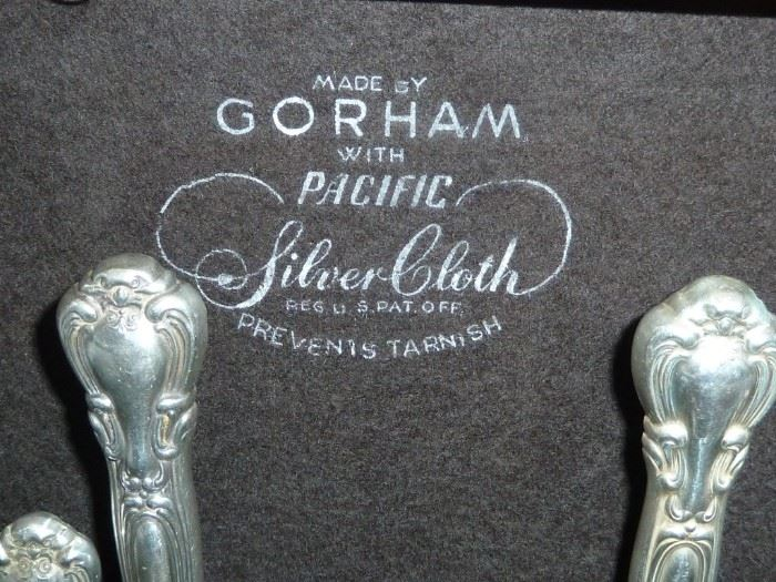 """THE GORHAM STAMP ON THE WOOD BOX AND EACH PIECE IS STAMPED """"GORHAM STERLING"""""""