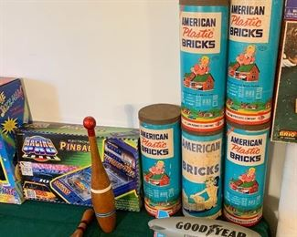 Vintage Toys - including several sets of American Plastic Bricks by HASLAM