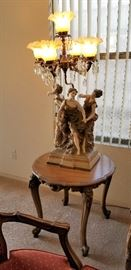 European lamp with 3 ladies dancing. Made in Italy. Nice round end table great in any room.