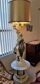 Made in Italy lamp with fabulous figures. Marble table top.