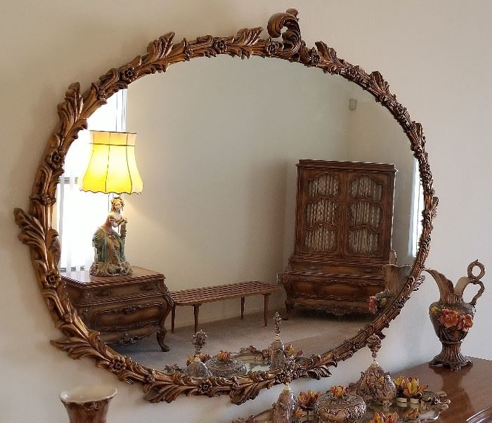 Gorgeous Oval Mirror. Very unusual.