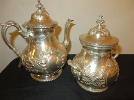 19TH C. TIFFANY& CO.  ENGLISH STERLING COFFEE POT AND CANISTER/SUGAR WITH LID ACANTHUS LEAVES  IN RELIEF  CIRC 1852 FLUTED KNOB FINIALS