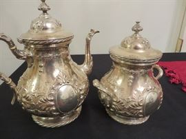 19TH C. TIFFANY& CO.  ENGLISH STERLING COFFEE POT AND CANISTER/SUGAR WITH LID AFLUTED KNOB FINIALSCANTHUS LEAVES  IN RELIEF  CIRC 1852