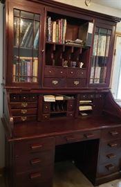 Antique cherry roll top desk (upper glass doors lock)