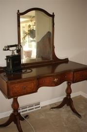 Matching double pedestal vanity/ antique phone (Berkey and Gay)