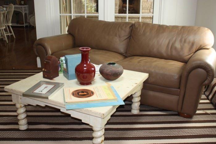 Leather sofa/ coffee table