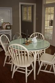 Wicker glass topped table