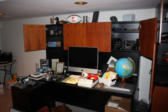 Great desk with file cabinet/ Apple computer