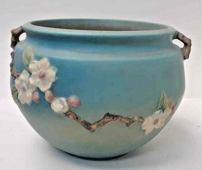 "Roseville Pottery Apple Blossom Blue Jardiniere for 8""  Pedestal 302-8"" LAQ0987 https://www.ebay.com/itm/113732698099"