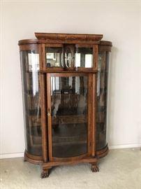 Antique Tiger Oak Serpentine Curio Cabinet