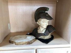 Roman Bust Sculpture Italian Carrera Marble