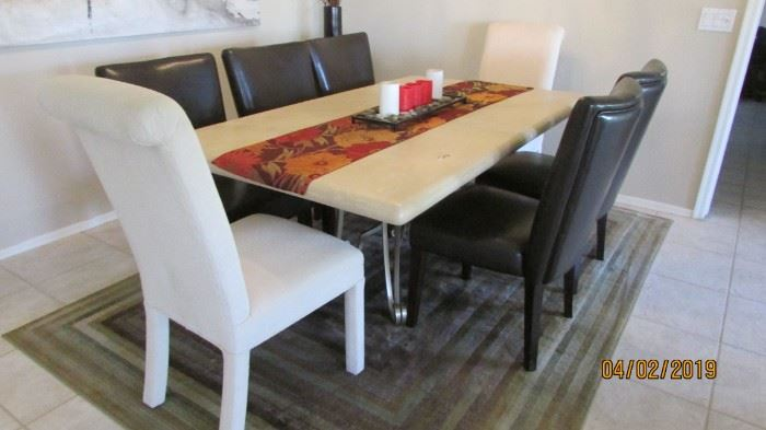 Stone top dining table and with metal base