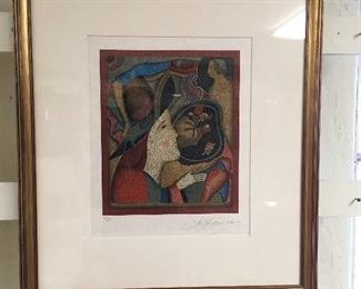Signed lithograph by Mihail Chemiakin. Approximately 14 inches by 18 inches. Low estimate $200
