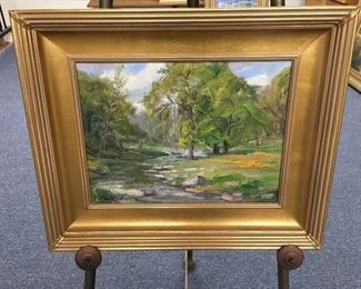 Oil on canvas by Charles Waldman. Approximately 11.5 inches by 15.5 inches. Low estimate $400
