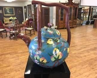 Cloisonné tea pot.