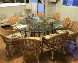 McGuire table & 8 chairs. Low estimate $600