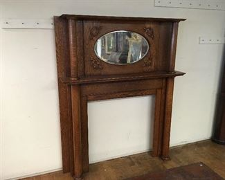 Oak fireplace mantle. Low estimate $500
