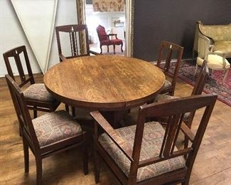 Oak table & inlaid chairs. Low estimate $250