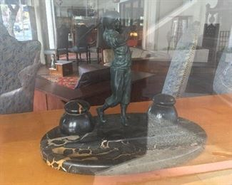Bronze & marble golfer Low estimate $500