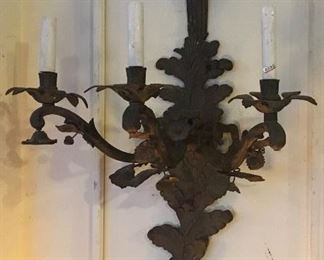 Pair of bronze sconces. Low estimate $200