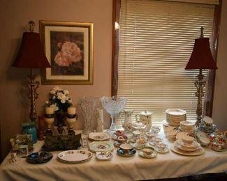 TEACUPS, TEA SET, DISH SET, DECOR, MATCHING LAMPS