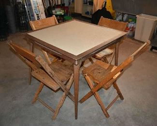CARD TABLE, FOLDING WOOD CHAIRS
