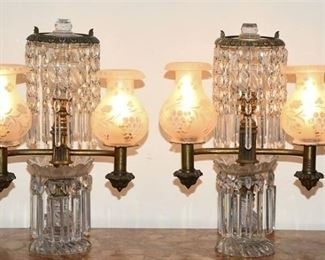 1. Exceptional Pair of Antique English Argand Lamps