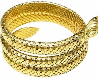 2. 14 Karat Yellow Gold Vintage Coiled Snake Bracelet