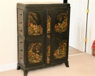 18. Vintage Chinese Lacquer Tall Chest