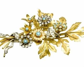 19. Gold Turquoise and Diamond Floral Form Dress Pin