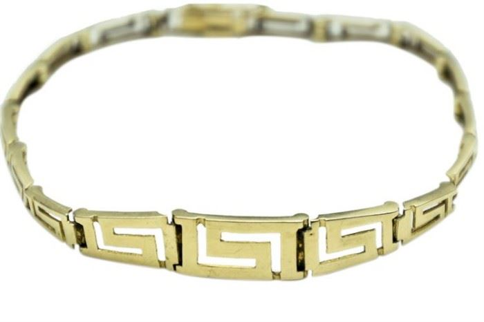 24. Fine K Gold Greek Key Form Bracelet