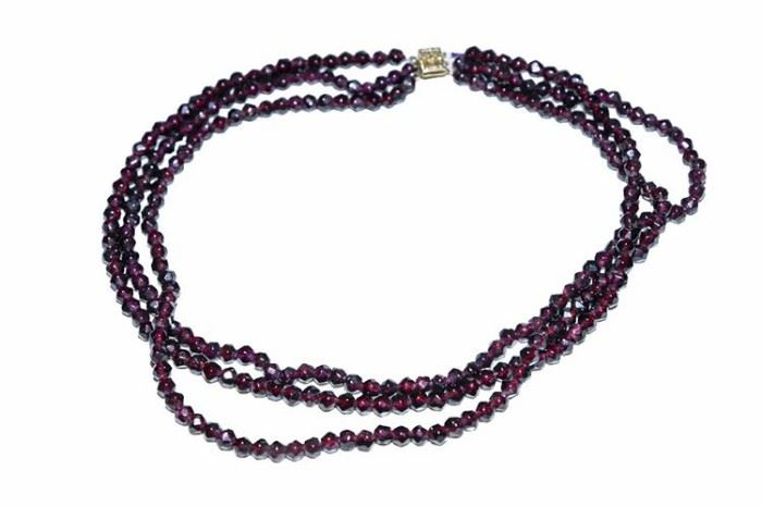 26. Vintage Garnet Triple Strand Beaded Necklace