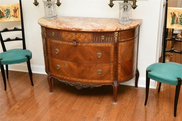 28. Early 20th Cent. Louis XV Style Demilune Commode