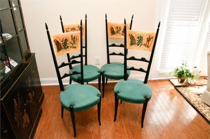 40. Set of Four 4 ALDO TURA Italian 50s Dining Chairs